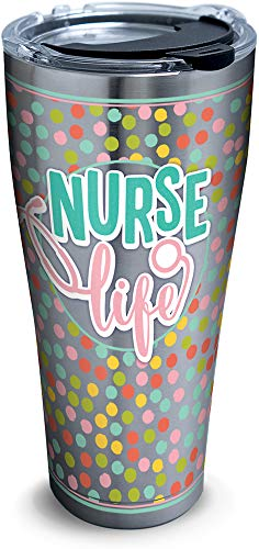 Tervis 1302573 Nurse Life Polka Dots Insulated Tumbler, 30 oz Stainless Steel, Silver (Stainless Steel Life)