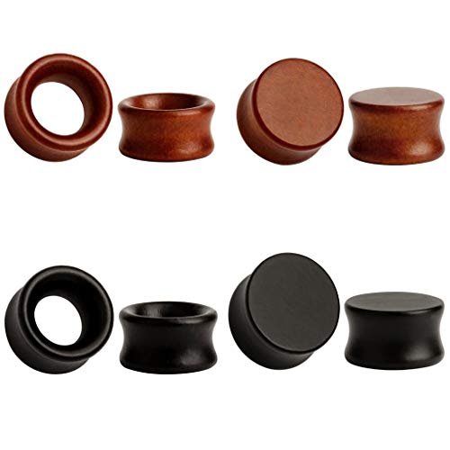 TBOSEN 8PCS Large Double Flared Brown Black Organic Wood Saddle Plugs Flesh Tunnels Stretching Punk Piercings Expanders Ear Gauges ()