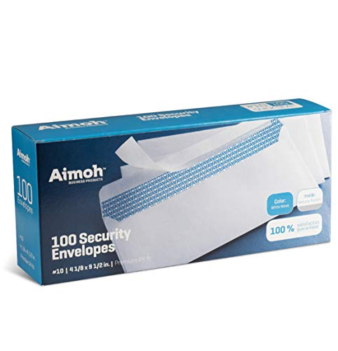 #10 Security Tinted Self-Seal Envelopes - No Window - EnveGuard, Size 4-1/8 X 9-1/2 Inches - White - 24 LB - 100 Count (34100)