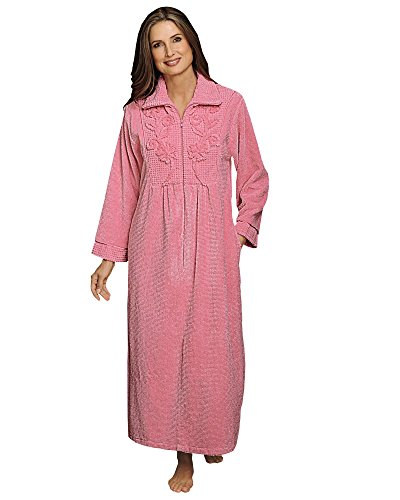 (National Chenille Zip Robe, Pink, Large)