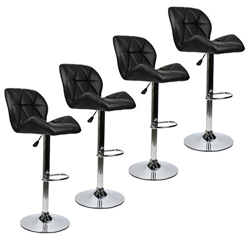 Set of 4 Bar Stools Modern Hydraulic Adjustable Swivel Barstools, Leather Padded with Back, Dinning Chair with Chrome Base, Black