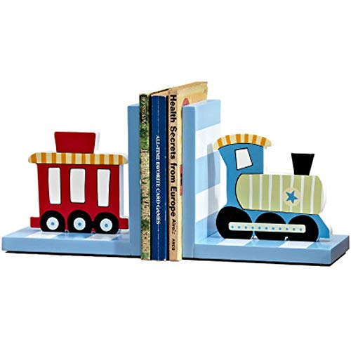 Solid Wood Chow Chow Train Bookend Kids Train Themed Chow Chow Train bookends for Boys Nursery or Bedroom Little Boy Gift Idea (Blue) ()