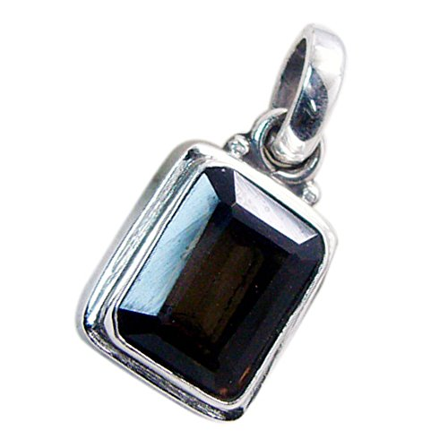 - Jewelryonclick Genuine Smoky Quartz Silver Pendant for Gift Charms Square Shape Bezel Style Necklace