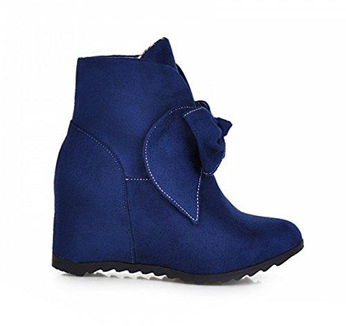 Chfso Para Mujer Sweet Heighten Inside Bowknot Nubuck Botines Azul