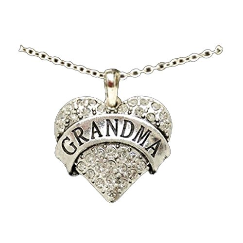 grandma engraved heart necklace is embellished with clear