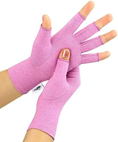 Compression Arthritis Gloves, Fingerless Hand Gloves for Rheumatoid & Osteoarthritis - Joint Pain and Carpel Tunnel Relief-Men & Women (Purple, Medium)