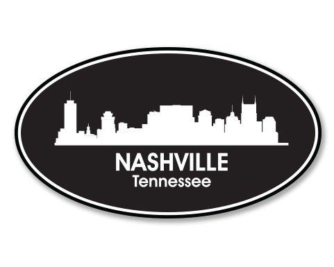 - Nashville Tennessee Oval Vinyl Sticker - Car Phone Helmet - SELECT SIZE