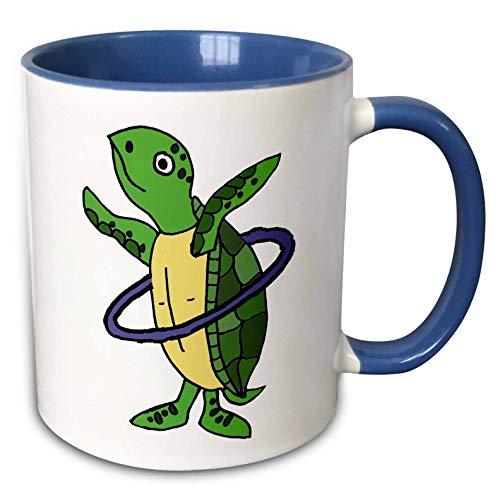 3dRose All Smiles Art Animals - Funny Cool Sea Turtle Playing Hula Hoop Beach Cartoon - 15oz Two-Tone Blue Mug (mug_287949_11)