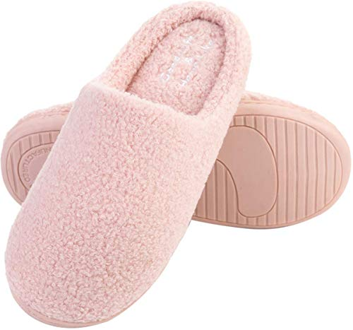 sabots pantoufles glissent de femmes hommes fourrure occasionnel JIASUQI Rose mousse sur chaudes la glissement mémoire et la chaussures sur intérieure maison qnzvWnwBt