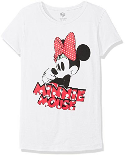 Disney Shirts For Girls (Disney Girls' Big Girls' Minnie Mouse Short Sleeve T-Shirt, White, Medium-8/10)