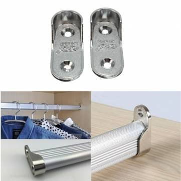 2pcs Oval Wardrobe Clothes Pipe Lever Rod Rail Bracket Support Holder 16mm Kyz Kuv O213977G