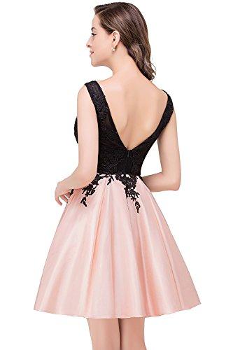 Abendkleider Spitze V Ärmellos Rück Babyonline® Cocktailkleider Abschlussballkleider Brautjunfernkleider Kurz Altrosa Damen w6qXX1g8