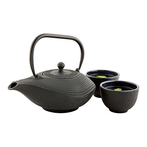 Tetsubin Prosperity Teapot - Cast Iron Teapot - 34 oz - Black - 1ct Box - Restaurantware Cast Iron Prosperity Teapot