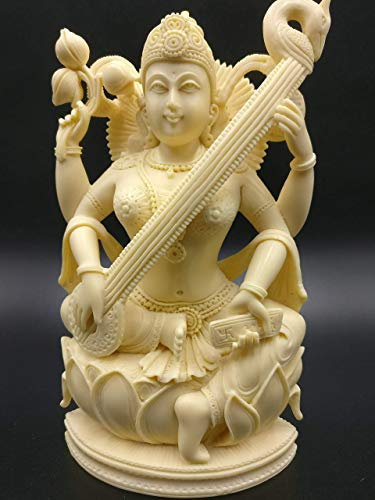 Murti Sculptures - Saraswati statue hand carved in marble dust 8 inches - Goddess of learning Saraswathi Idol | Murti | Sculpture | Figurine