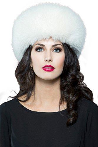 EM-EL Women's White Fox Fur Headband by EM-EL