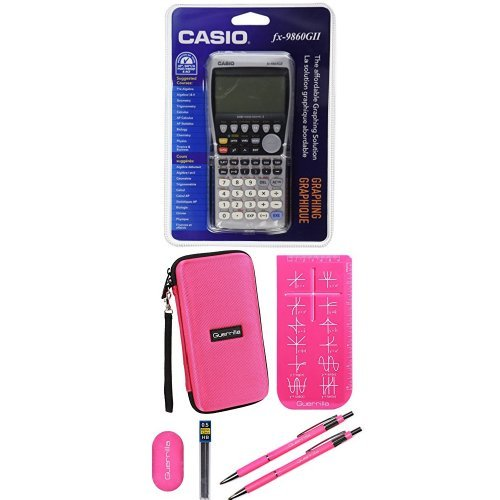 Casio FX-9860 Graphing Calculator With Travel Case And Essential Graphing Accessory Bundle, Pink