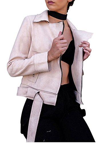 Raccolto Donne Delle Cappotto Bavero Fino Biker Zip Abbigliamento Rosa Ecopelle Simplee Camoscio avd5wxpv