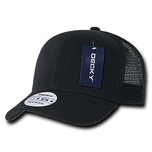 DECKY 6 Panel Curve Bill Trucker Cap, Black