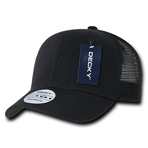DECKY 6 Panel Curve Bill Trucker Cap, Black -