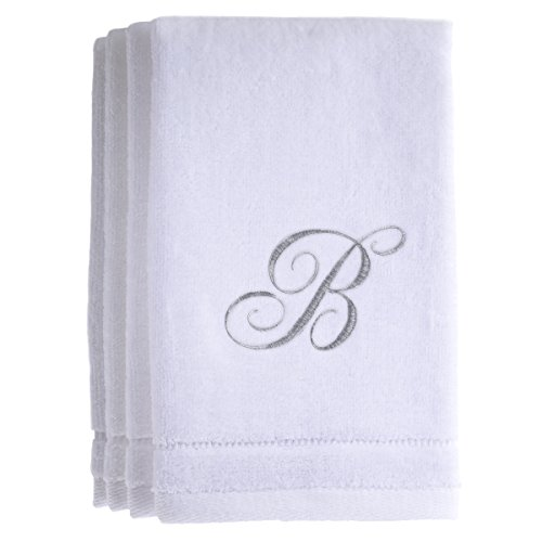 Monogrammed Towels Fingertip, Personalized Gift, 11 x 18 Inches - Set of 4- Silver Embroidered Towel - Extra Absorbent 100% Cotton- Soft Velour Finish - For Bathroom/ Kitchen/ Spa- Initial B (White) (Customized Gift Baskets Chicago)