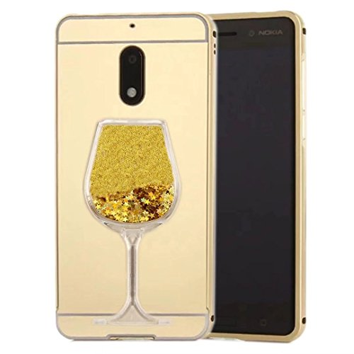 iPod Touch 6 Mirror Case, QKKE [Goblet Series] Metal Air Aluminum Bumper Detachable + Mirror Hard Back Case 2 in 1 Cover Ultra-Thin Frame for iPod Touch 6(Goblet/Gold)