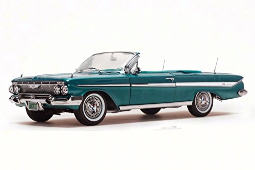 1961 Chevy Impala Convertible, Twilight Turquoise - Sun Star 3407 - 1/18 Scale Diecast Model Toy (Ss Convertible Diecast Model)
