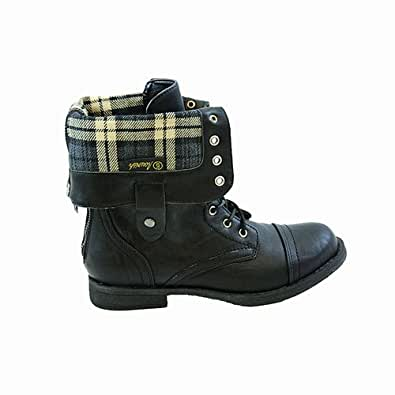 New! Military Combat Boot Fold-over Cuff + Zipper on the Back (6.5)