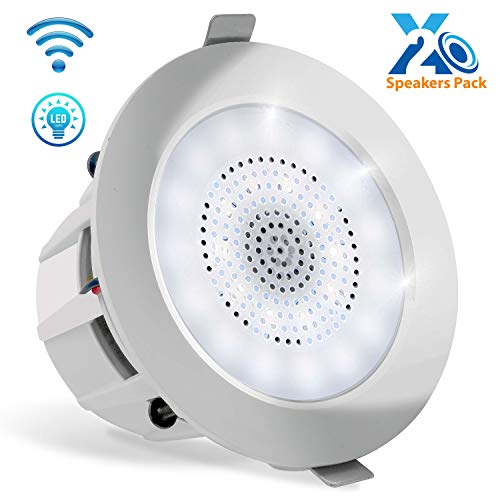 Pyle 4 Pair of Bluetooth Flush Mount In-wall In-ceiling 2-Way Home Speaker System Built-in LED Lights Aluminum Housing Spring Clips Polypropylene Cone & Tweeter 2 Ch Amplifier 160 Watts (PDICBTL4)