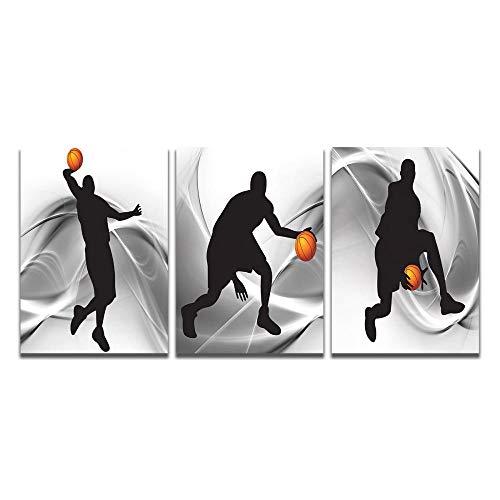 Poster De Siluetas De Atletas Famosos De Play Basketball, Cuadro De Arte De Pared, Pintura Impresa En Lienzo, para Sala De Estar, Decoracion Navidena para El Hogar, 50 X 70 Cm, 3 Piezas_Noframe