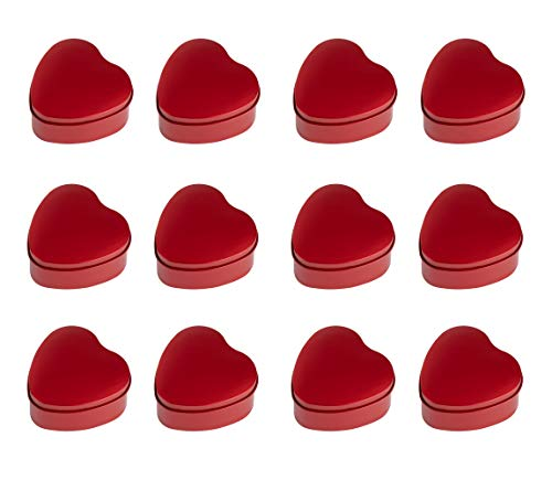 Juvale Heart Tin Can with Lid - 12-Pack 5.5-Ounce Empty Heart-Shaped Steel Box Storage Container for Treats, Gifts, Favors and Crafts, Metallic Red, 2.8 x 1.4 x 2.7 Inches (Box Candle Favor)