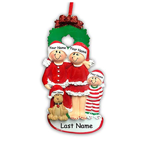 Personalized Holiday Family of 3 with Dog Hanging Christmas Ornament Family in Christmas Pajamas and Santa Claus Hats with Custom Names -
