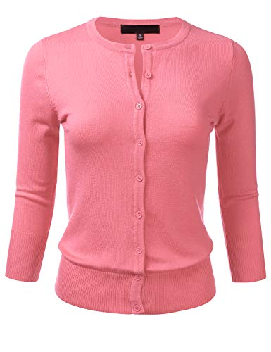 Crew Ribbed Sweater - FLORIA Women's Button Down 3/4 Sleeve Crew Neck Knit Cardigan Sweater Pink M