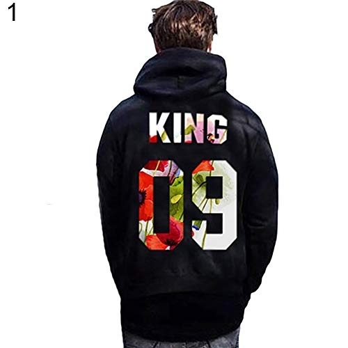 09 Hoodie - Dds5391 Stylish Couple Style Spring and Autumn Warm Hoodies King 09 and Queen 09 Letter Print Couple Hoodies Matching Pullovers Xmas Gift King XL