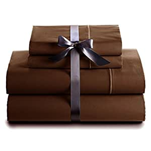 5piezas sábana–-- 500hilos marrón sólido UK Super-King 100% algodón egipcio Extra profundo bolsillo (21Inche)–as1