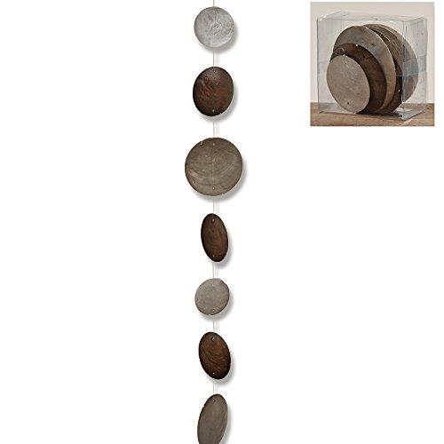 Hänger, Girlande Capiz Country in grau aus Perlmutt, Länge ca. 180 cm
