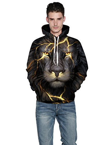 Unisex Fashion 3D Digital Galaxy Pullover Hoodie Hooded Sweatshirt Athletic Casual With Pockets(Angry Lion, L/XL)
