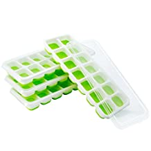 Ice Cube Tray, Patec Easy Release Silicone Ice Cube Tray,14 Ice Molds, Pack of 4,Keep Drink Cool, LFGB Certified, Spill-Resistant Lid Included, Easy to Use and Dishwasher Safe