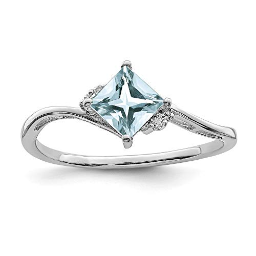 925 Sterling Silver (0.02cttw) Rhodium Plated Diamond and Aquamarine Square Ring Size-6