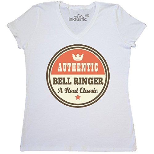 inktastic - Bell Ringer Vintage Classic Women's V-Neck T-Shirt Large White ()