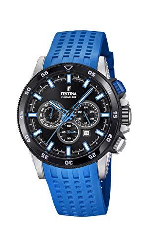 Rubber Chrono Strap (Men's Watch Festina - F20353/7 - CHRONO BIKE 2018 - Chronograph - Date - AM/PM - Blue Rubber Strap)