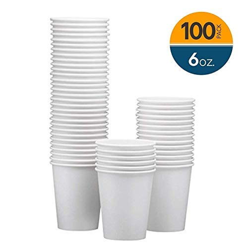 NYHI 100-Pack 6 oz White Paper Disposable Cups - Hot/Cold Beverage Drinking Cup for Water, Juice, Coffee or Tea - Ideal for Water Coolers, Party, or Coffee On the Go