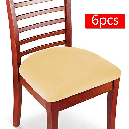 (Boshen 6PCS Elastic Spandex Chair Stretch Seat Covers Protector for Dining Room Kitchen Chairs Stretchable (Beige, 6))