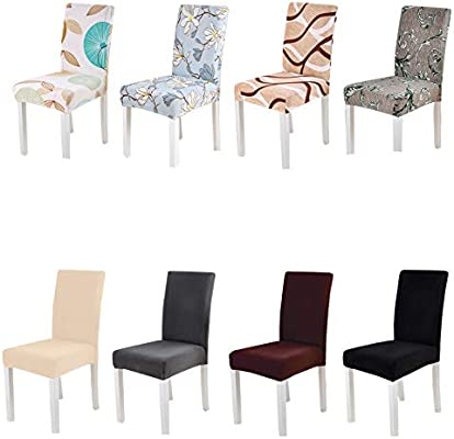 Amazon.com: Spandex Chair Cover Stretch Elastic Dining Seat Cover ...