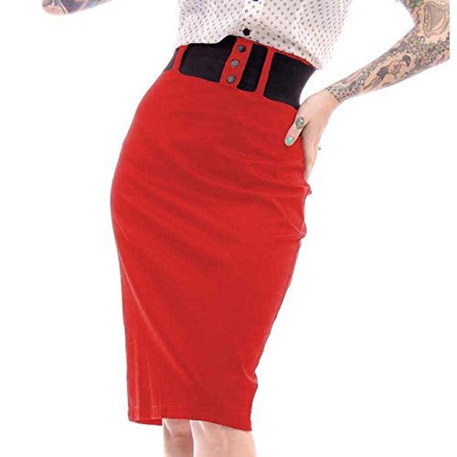Rock Steady Clothing Women's Pencil Skirt Retro Pin Up Stretch (Medium, Red)