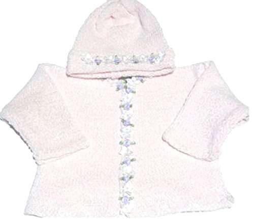 Knitted Crochet Finished Pink Chenille Cardigan Hat with Flowers for Infant Girls (18-24 mo) ()