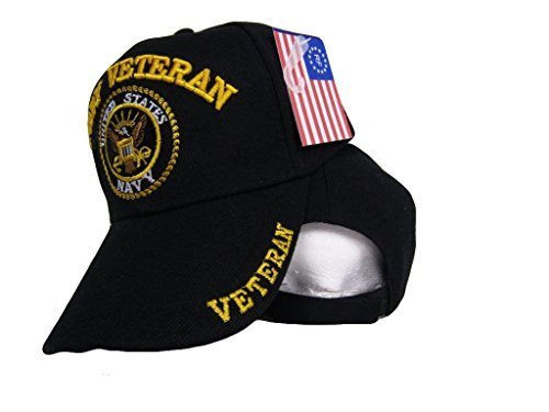 Black US Navy Veteran Shadow Embroidered Ball Cap Baseball 3D Embroidered Hat U.S. Navy