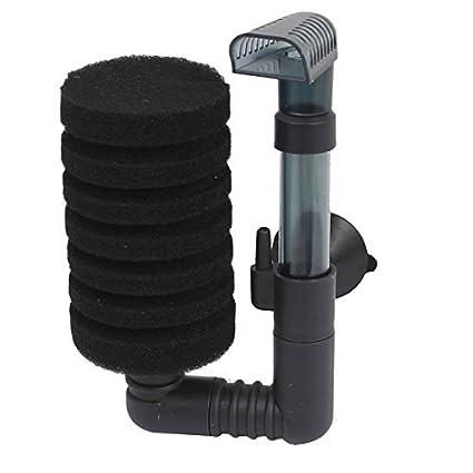 eDealMax plástico pecera acuario Biológico filtro de la esponja Bomba de aire, Negro