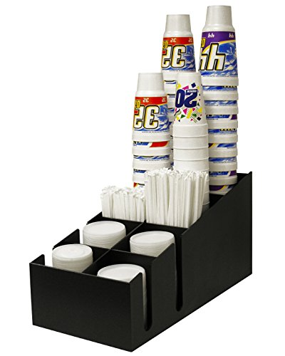 Cup and Lid Holder for Fountain Size Drinks. Holds up to 4 Size Cups and Lids From A Jumbo 64 Oz. And Smaller. Has 2 Generous Sized Straw Compartments. Proudly Made in the USA! by PPM.