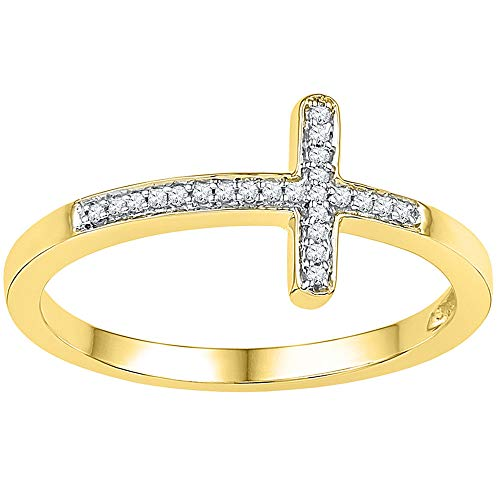 - 10kt Yellow Gold Womens Round Diamond Cross Religious Band Ring 1/20 Cttw