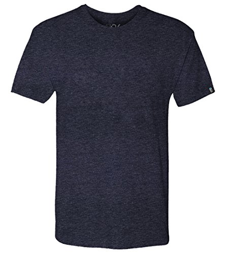Men's Tri-Blend Soft Wash Jersey Crew Neck Everyday Plain and Heather T-Shirts Vintage Navy